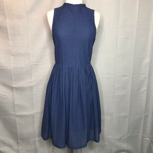 Anthro Deletta Blue Cosgrove Fit & Flare Dress Med